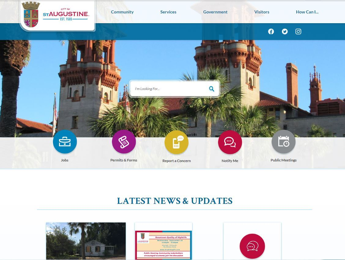 image of website Home page with banner image, navigation and shortcut buttons