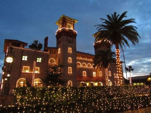 Lightner Museum on display with Christmas lights for Nights of Lights