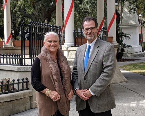 Photo of former Mayor Ramelle Petroglou and retired Public Affairs Director Paul Williamson