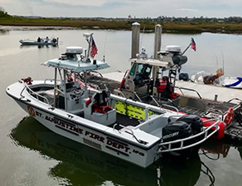 Fire Department boats in a marina