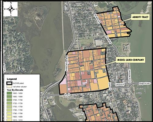 Cropped image of overlay map of outlined National Register Historic Districts