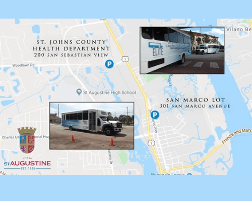 Google map of St. Augustine with images of shuttle buses overlay on parking lot locations