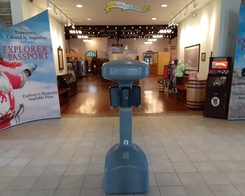 image of hand sanitizer stand in the entrance of the VIC