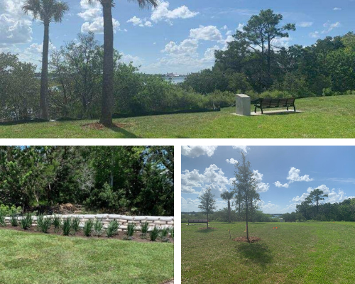 collage layout of three images of Coquina Park