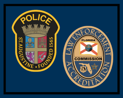 decorative image of St. Augustine Police Department and Florida Accreditation logos