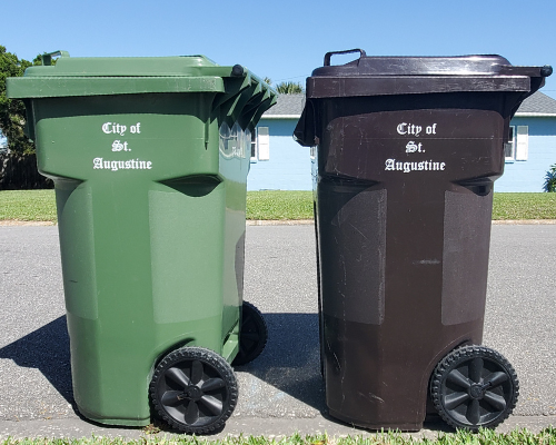 GREEN RECYCLING CART AND BROWN TRASH CART