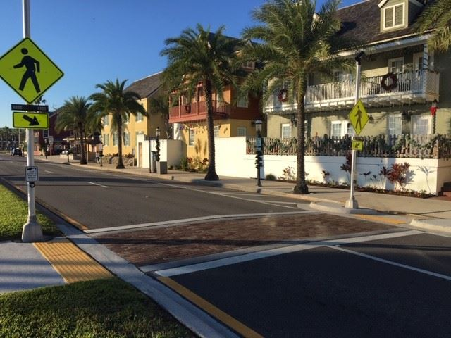 image of a crosswalk on the bayfront, Avenida Menendez