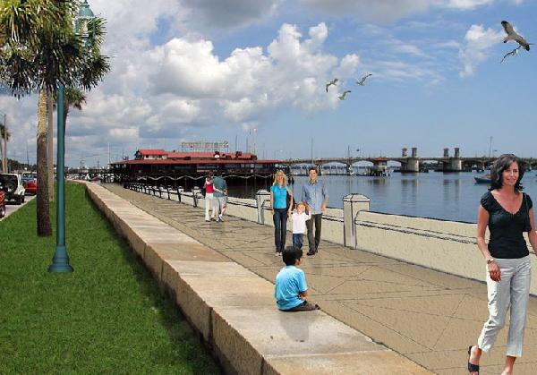 Rendering of the future Avenida Menendez Seawall from Taylor Engineering