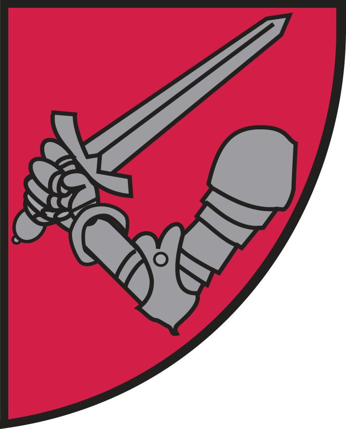 Image of the lower right quadrant of city crest with armor and sword