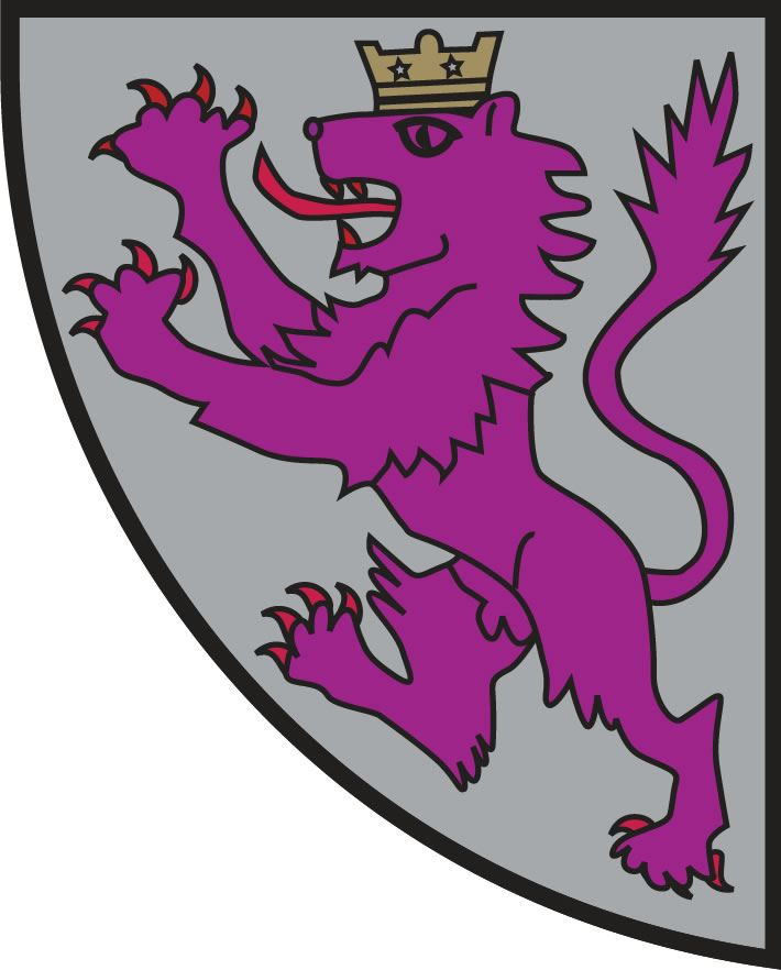 Image of the lower left quadrant of city crest with purple lion