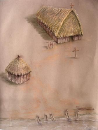 Artist Reconstruction of the Church and Possible Council House at la Punta