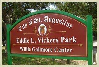City of St. Augustine Eddie L. Vickets Park at Willie Galimore Center Sign
